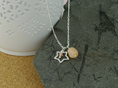 Peach Moonstone Open Star Sterling Silver Necklace