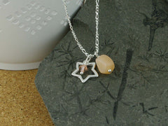 Peach Moonstone Open Star Silver Charm Necklace
