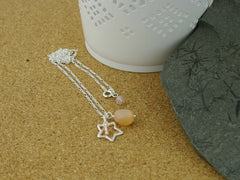 Peach Moonstone Open Star Charm Silver Necklace