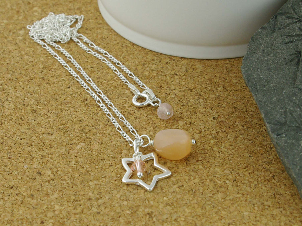 Peach Moonstone Open Star Silver Necklace