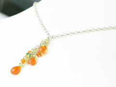 Orange Blossom Necklace - Exclusive & Handmade with Carnelian, Yellow Sapphire & Peridot