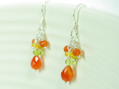 Orange Blossom Earrings - Exclusive & Handmade with Carnelian, Peridot & Yellow Sapphire