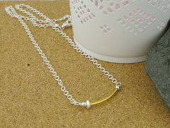 Fidget Necklace - Sterling Silver with Oval Stardust Bead