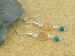Peach Moonstone Delight Earrings - Sterling Silver with Peach Moonstone & Turquoise