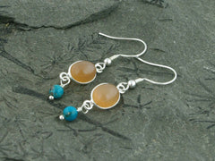 Peach Moonstone Delight Earrings - Sterling Silver, Peach Moonstone & Turquoise