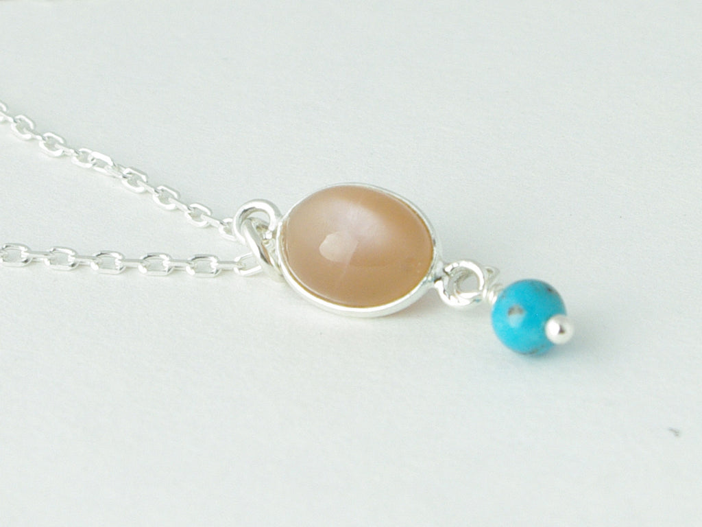 Peach Moonstone Delight Necklace - Petite Cabochon drop of Peach Moonstone with Turquoise