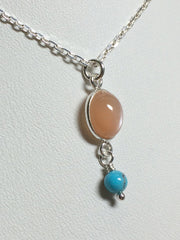 Peach Moonstone Delight Necklace - Petite Cabochon drop of Peach Moonstone accented & Turquoise