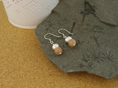 Peaches & Cream Earrings - Cultured Pearl & Peach Moonstone Silver Earrings. Pearls Collection, Jewellery by Linda