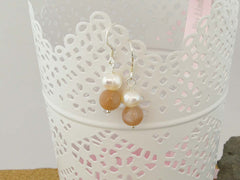 Peaches & Cream Earrings - Cultured Pearl and Peach Moonstone Silver Earrings. Jewellery by Linda Pearls Collection