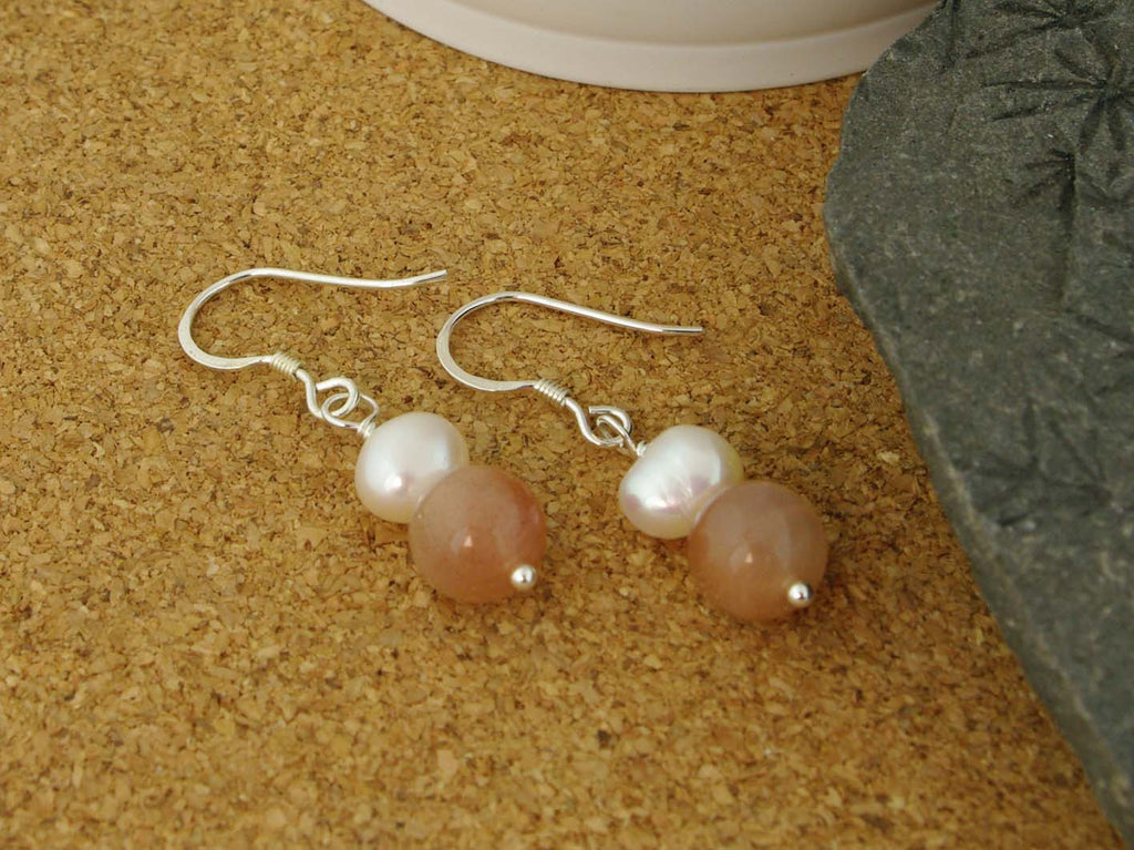 Peaches & Cream Earrings - Cultured Pearl and Peach Moonstone Silver Earrings from Jewellery by Linda
