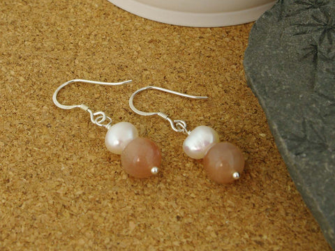 Peaches & Cream Earrings - Cultured Pearl and Peach Moonstone Silver Earrings