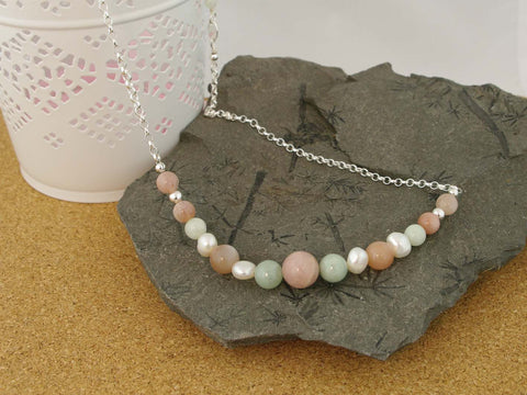 Peaches & Cream Necklace - Cultured Pearl, Jadeite and Peach Moonstone Silver Necklace