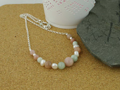 Peaches & Cream Necklace - Cultured Pearl, Jadeite and Peach Moonstone Silver Necklace. Jewellery by Linda