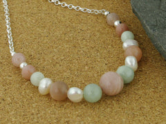 Peaches & Cream Necklace - Cultured Pearl, Jadeite & Peach Moonstone Silver Necklace from the Pearls Collection at Jewellery by Linda