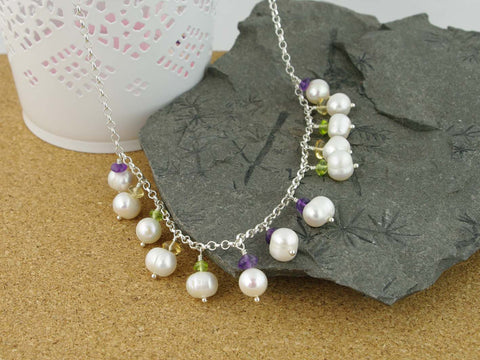Pearl Dream Necklace - Freshwater Pearls, Amethyst, Citrine, Peridot, Sterling Silver