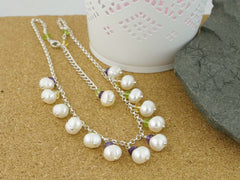 Pearl Dream Necklace - Freshwater Pearls, Amethyst, Citrine, Peridot andSterling Silver