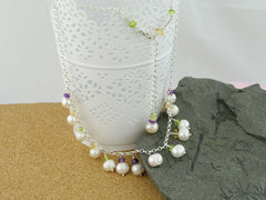 Pearl Dream Necklace - Freshwater Pearls, Amethyst, Citrine, Peridot with Sterling Silver. Jewellery by Linda
