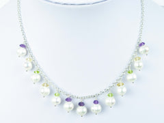 Pearl Dream Necklace - Freshwater Pearls, Amethyst, Citrine, Peridot & Sterling Silver. Jewellery by Linda