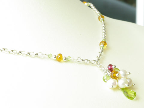 Peaseblossom Necklace - Exclusive & Handmade with Peridot, Citrine & Freshwater Cultured Pearl