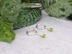 Peridot Half Hoop Earrings - Peridot with Sterling Silver