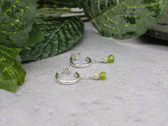 Peridot Half Hoop Earrings - Peridot on Sterling Silver