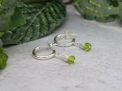 Peridot Half Hoop Earrings - Peridot, Sterling Silver