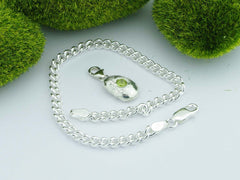 Changbai Peridot Solid Sterling Silver Pebble Charm