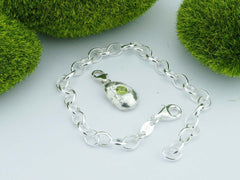 Changbai Peridot Solid Sterling Precious Pebble Charm