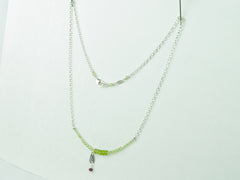 Peridot Charm Necklace - Peridot, Ruby & Sterling Silver Charm