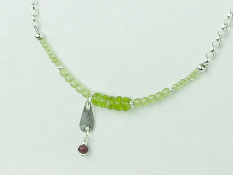Peridot Charm Necklace - Peridot, Ruby, Sterling Silver Charm
