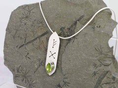 Peridot Marquise Runic Sterling Silver Necklace