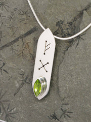 Peridot Marquise Runic Sterling Silver Necklace gem closeup