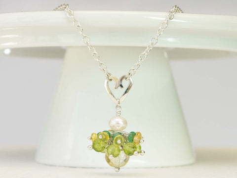 Persephone Necklace - Unique Handmade Sterling Silver Heart with Emeralds & Yellow Sapphires