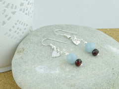Jewellery by Linda Petite Heart Aquamarine Sterling Silver Earrings