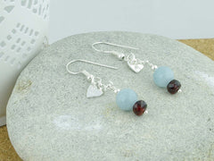 Petite Heart Aquamarine Jewellery by Linda Sterling Silver Earrings