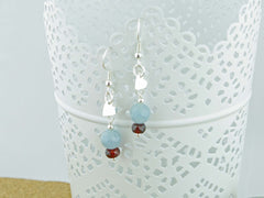 Petite Heart Aquamarine Silver Earrings