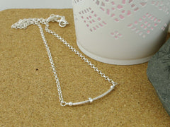 Fidget Necklace - Sterling Silver - Petite Silver Ring Slider