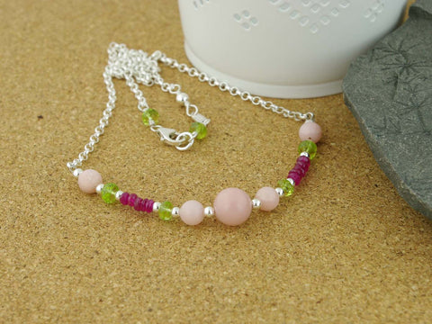Pink Opal Necklace - Pink Opal, Ruby, Peridot