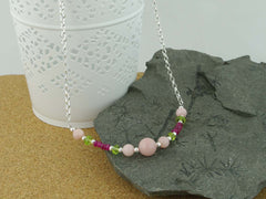 Pink Opal Necklace - Pink Opal, Ruby and Peridot
