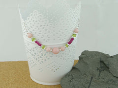 Pink Opal Necklace - Pink Opal, Ruby, Peridot sterling silver handmade necklace