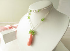 Pink Lady Necklace - Pink Opal, Peridot, Sterling Silver
