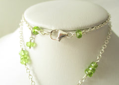 Pink Lady Necklace - Pink Opal & Peridot with Sterling Silver