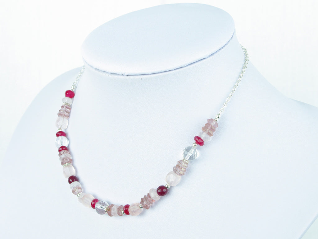 Pretty in Pink Necklace - Quartz & Sterling Silver