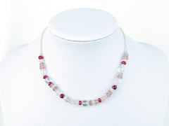 Pretty in Pink Necklace - handmade with Quartz & Sterling Silver