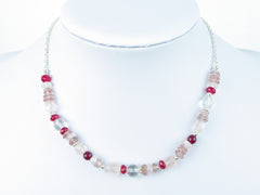 Pretty in Pink Necklace - unique design with Quartz & Sterling Silver