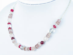 Pretty in Pink Necklace - Quartz and Sterling Silver