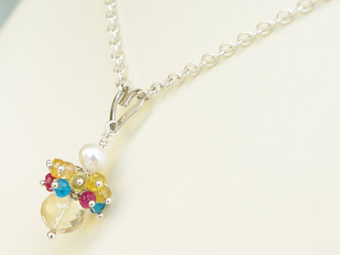 Rebecca Necklace - Unique Handmade Sterling Silver Heart, Ruby & Sapphire
