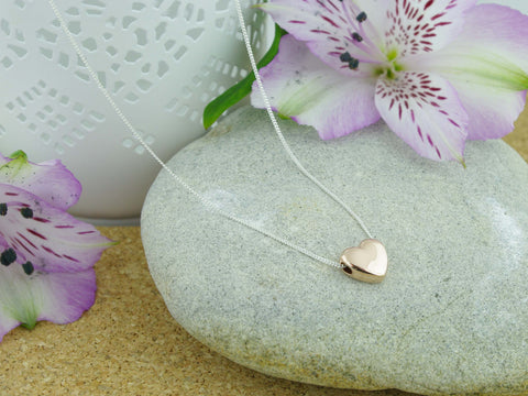 Rose Heart Sterling Silver Necklace
