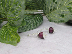 Ruby Discs Earrings - Ruby with Sterling Silver Discs