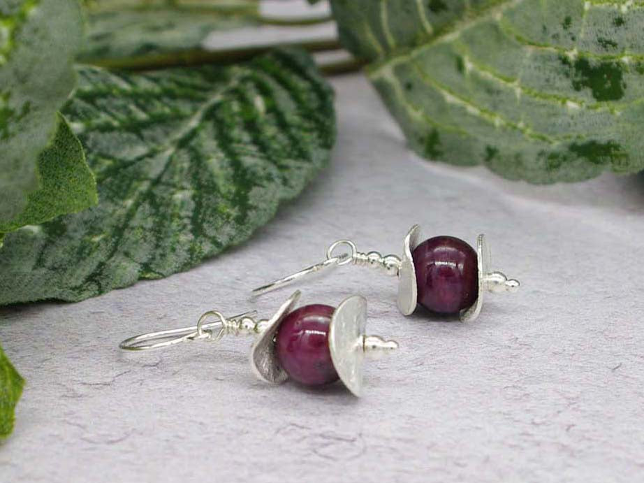 Ruby Discs Earrings - Ruby with Sterling Silver Curved Discs